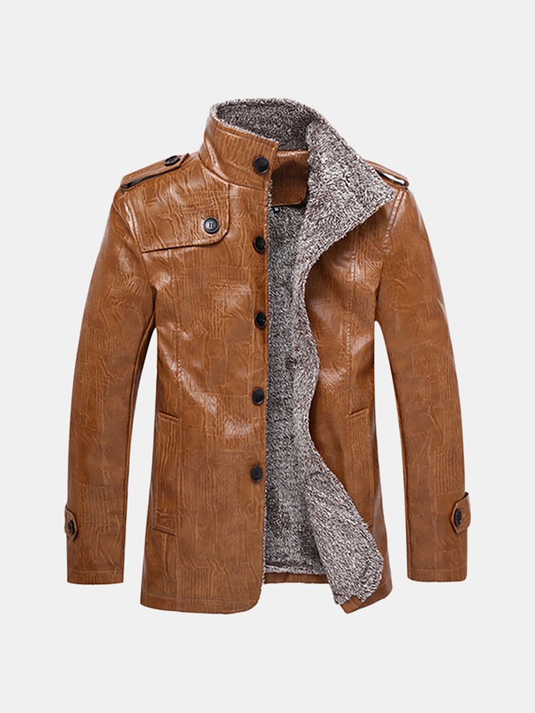 Best Plus Size Faux Leather Jacket Windproof Water Repellent Fleece Motorcycle Jacket for Men You Can Buy