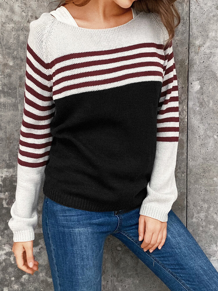 Best Contrast Color Long Sleeve O-neck Striped Patchwork Sweater For Women You Can Buy