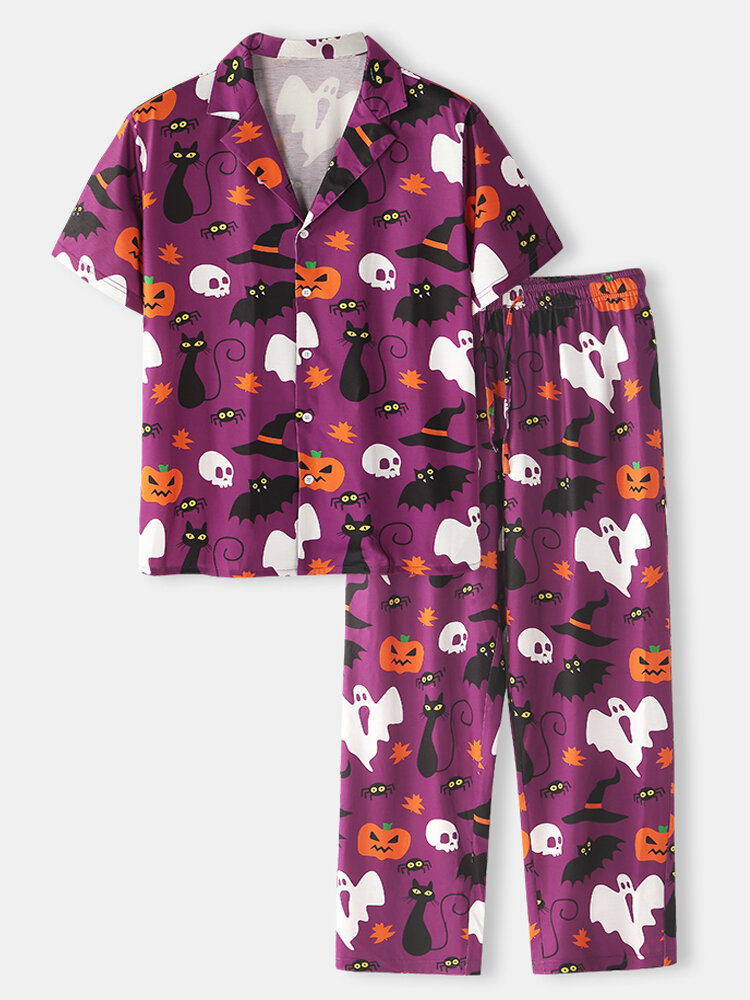 Best Mens Halloween Funny Cartoon Ghost Printing Lapel Collar Co-ords Two Pieces Cozy Loungewears You Can Buy