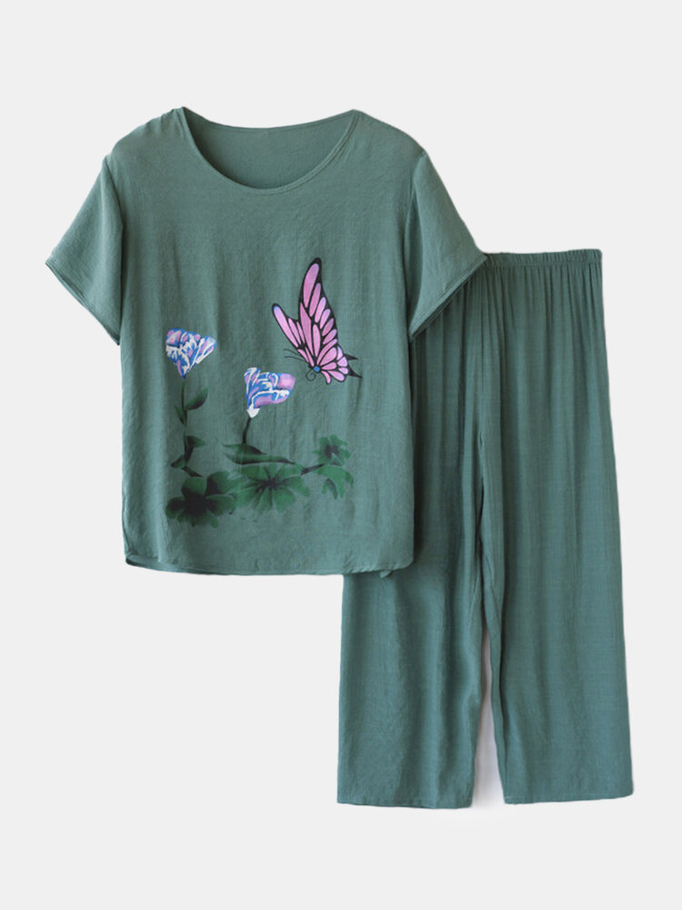 Best Women Butterfly Print Loungewear Short Sleeve Floral Loose Breathable O-Neck Summer Pajamas To Wear Outside You Can Buy