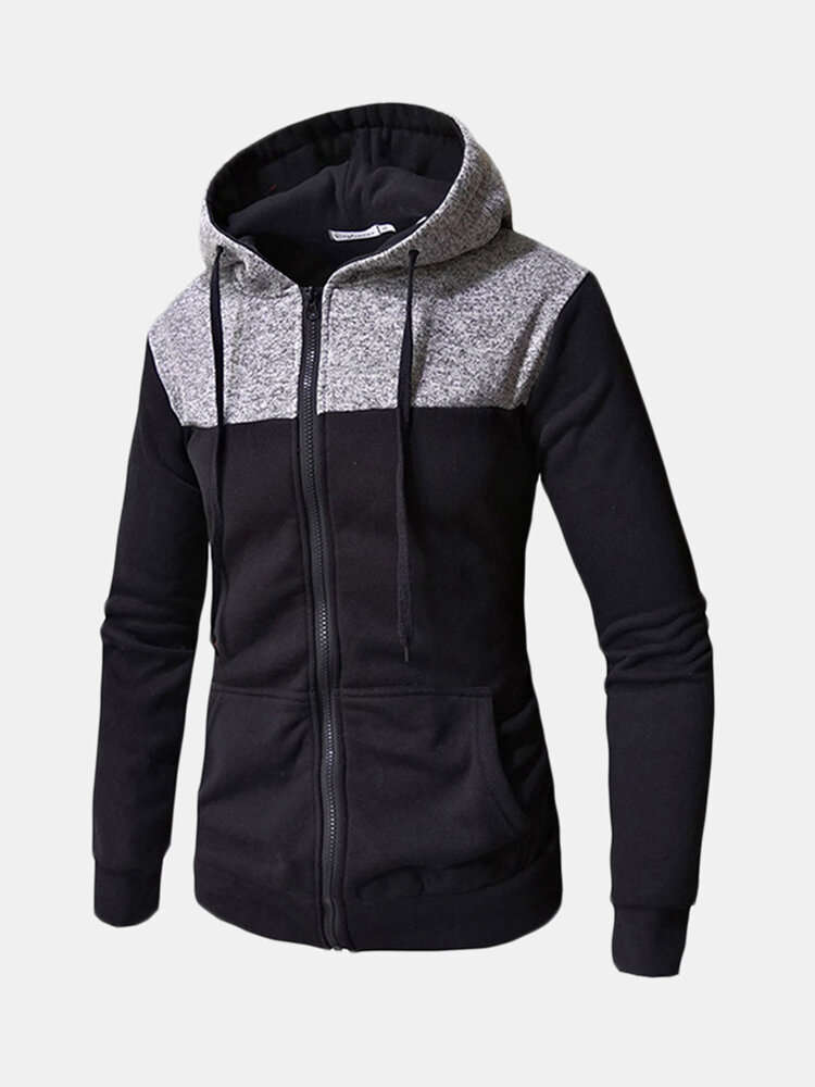 Best Mens Fall Winter Stitching Color Casual Zip Up Long Sleeve Hoodies You Can Buy