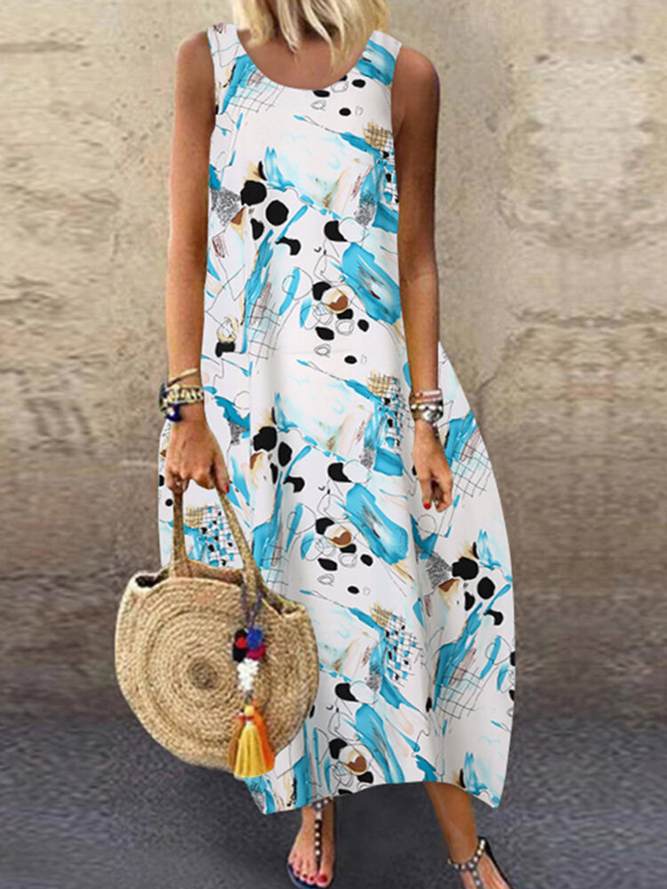 Best Printed Sleeveless O-neck Casual Dress You Can Buy
