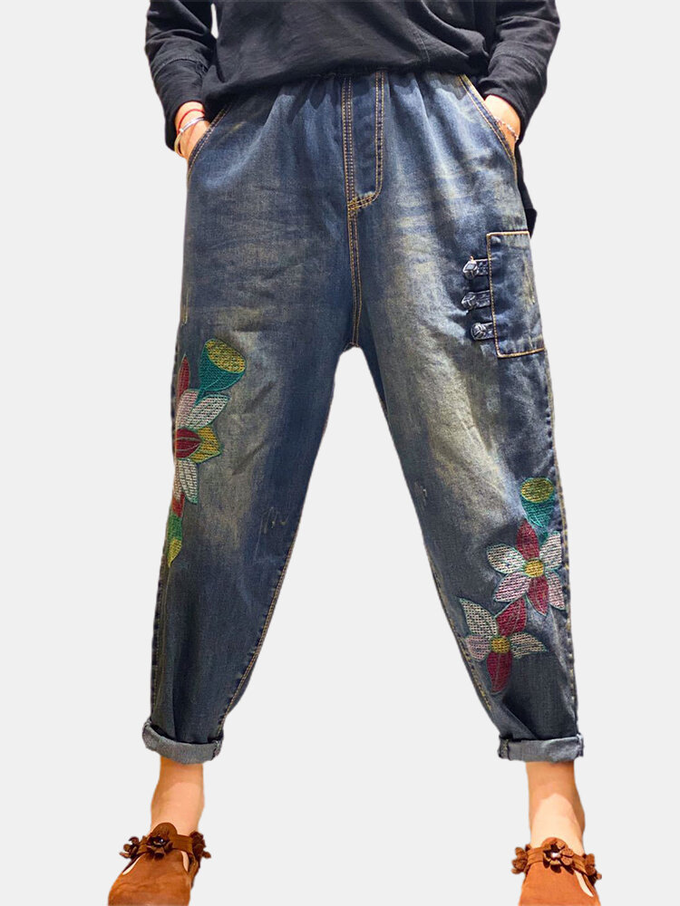 Best Vintage Embroidered Flower Elastic Waist Denim Pants With Pocket For Women You Can Buy