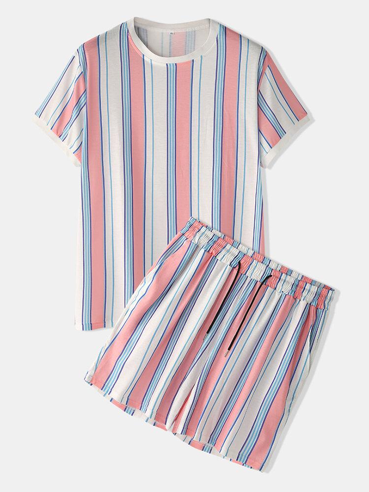 Best Men Colorful Striped Sleepwear Short Sleeve Pajamas Set Home Soft Cozy Loungewear You Can Buy