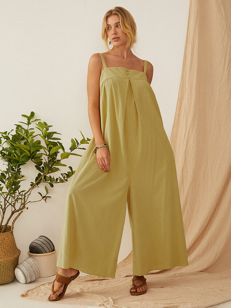 Best Solid Color Straps Pleated Jumpsuit For Women You Can Buy