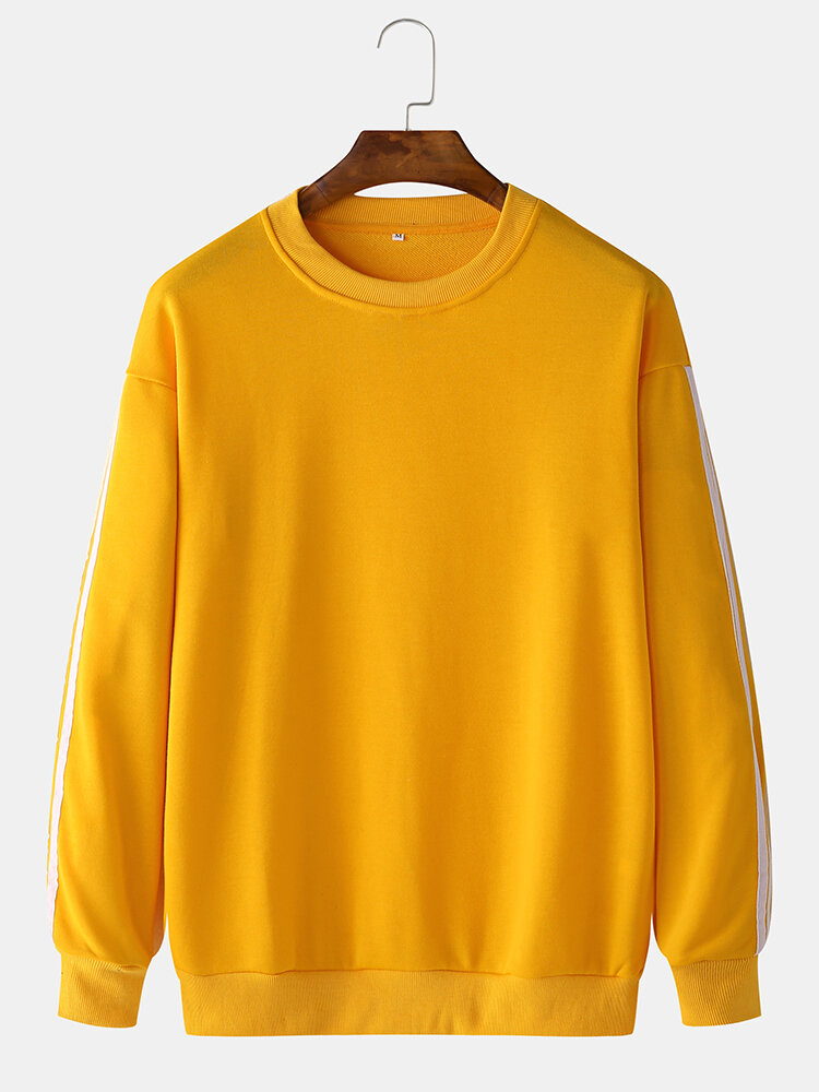 Best Mens Plain Solid Color Striped Tape Side Pullover Sweatshirts You Can Buy