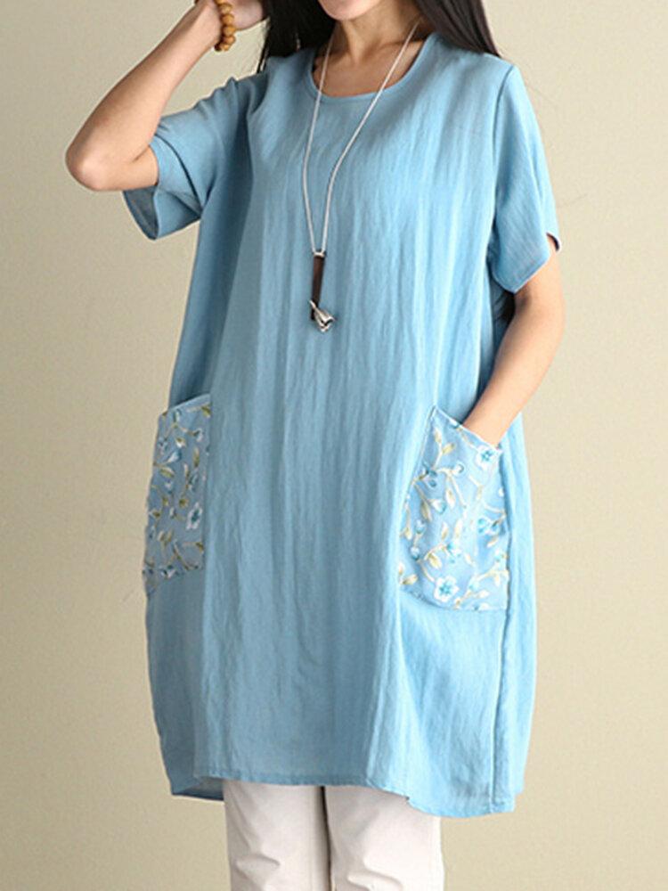 Best Pocket Patchwork Short Sleeve O Neck Women Dresses You Can Buy
