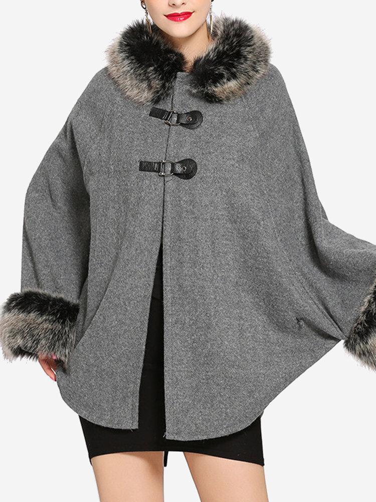 Best Faux Fur Bat-wing Two-tone Poncho Coats You Can Buy