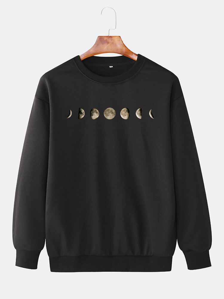 Best Mens Moon Graphic Chest Print Plain Elastic Hem Casual Loose Sweatshirts You Can Buy