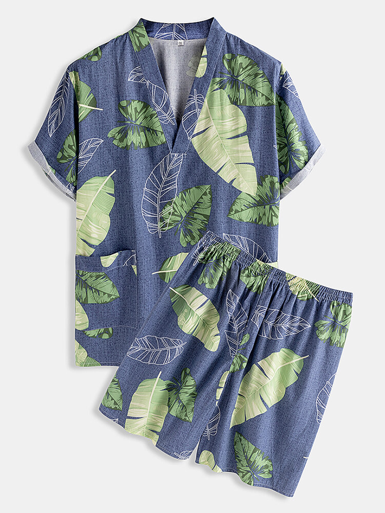 Best Casual Tropical Pattern Two Pieces Sets V Neck Tops Short Sleeve Tops Summer Pajamas for Men You Can Buy