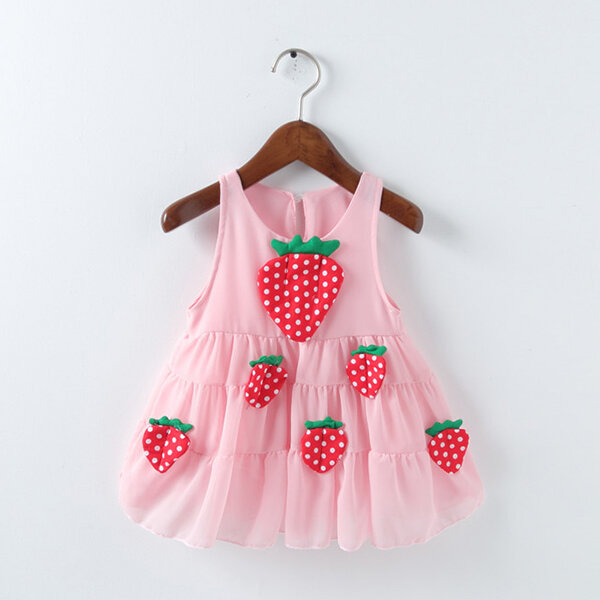 Best Cute Strawberry Girls Sleeveless Dress For 0-24M You Can Buy