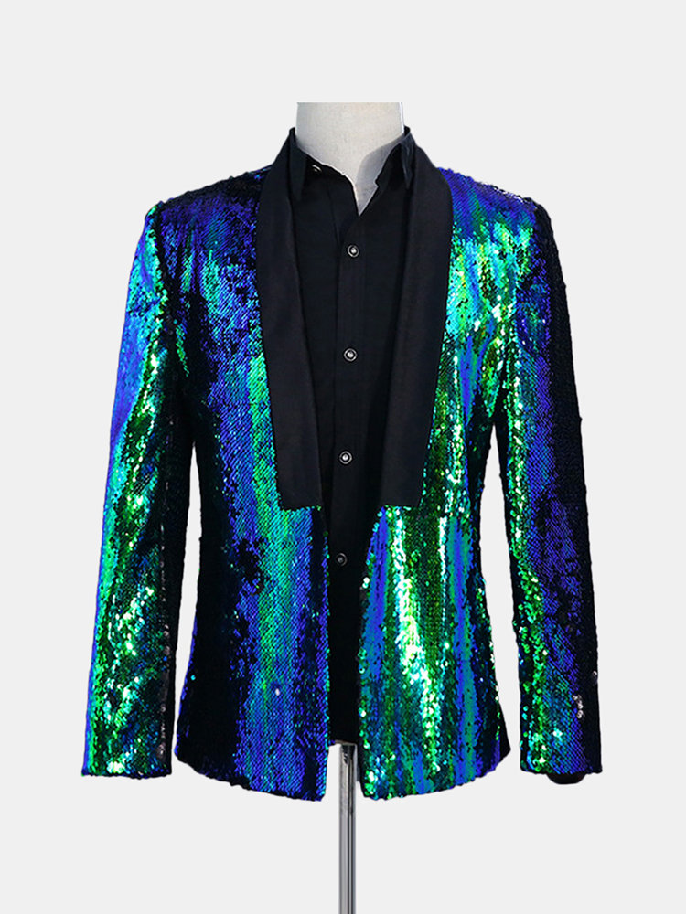 Best Mens Double Color Sequin Dress Suit Stage Wedding Banquet Night Club Casual Blazer You Can Buy