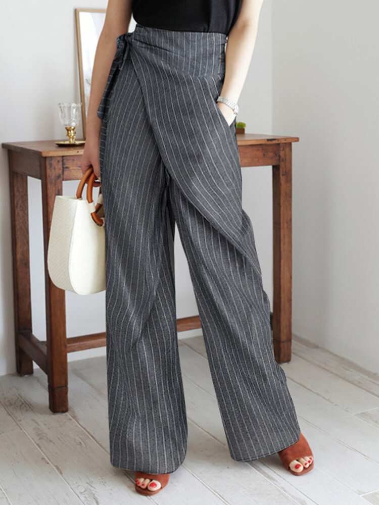 Best Striped Knotted Wrap Pocket Wide-legged Irregular Pants You Can Buy