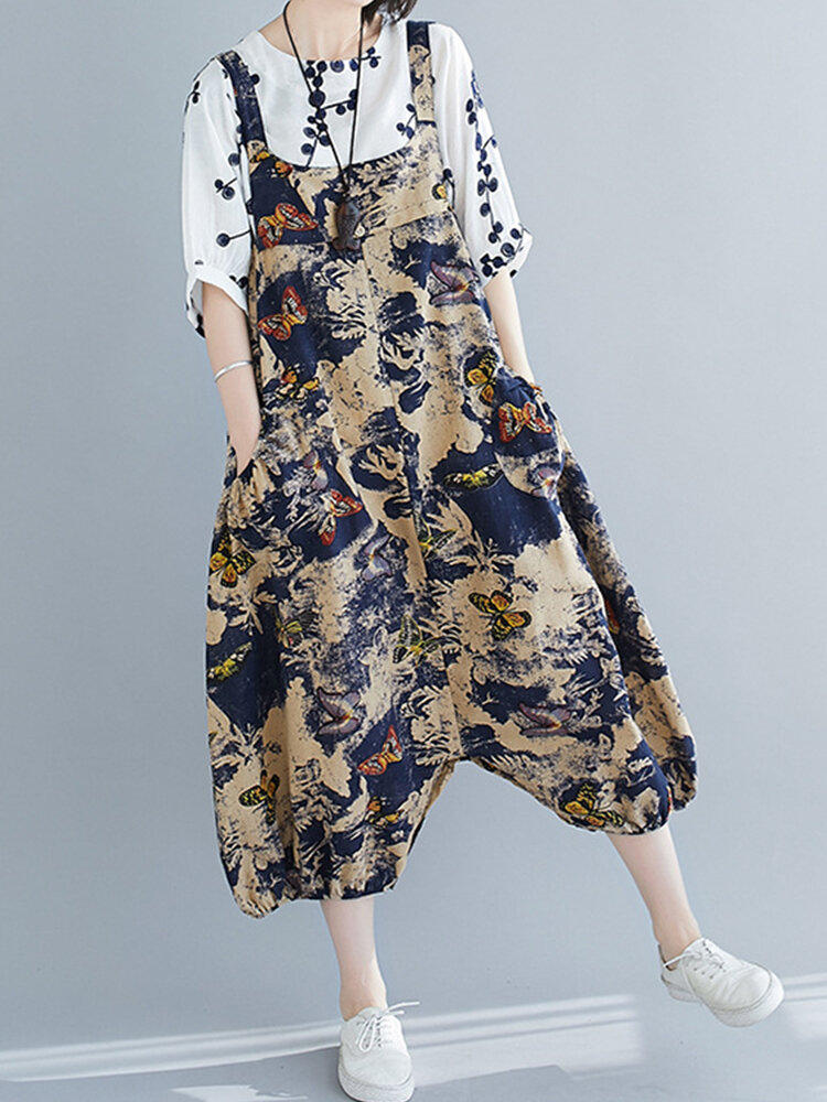 Best Women Vintage Butterfly Print Loose Jumpsuit Or Dress You Can Buy