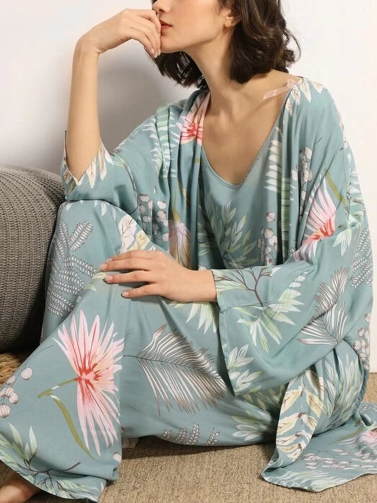 Best Women 3 Pieces Floral Plant Print Loose Ruffle Hem Comfy Pajamas Sets You Can Buy