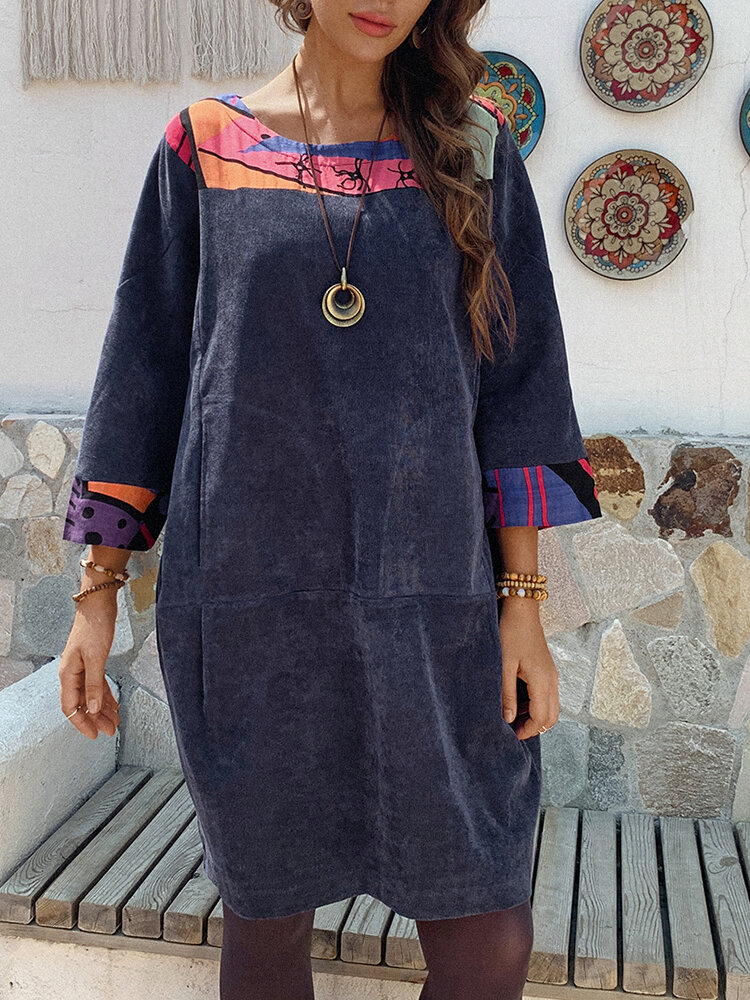 Best Ethnic Print Patchwork Corduroy 3/4 Sleeve A-line Plus Size Dress You Can Buy