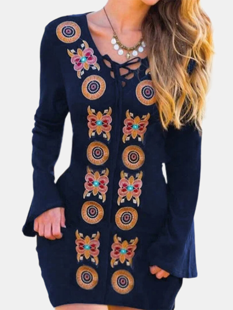 Best Ethnic Printed V-neck Long Flare Sleeve Vintage Dress You Can Buy