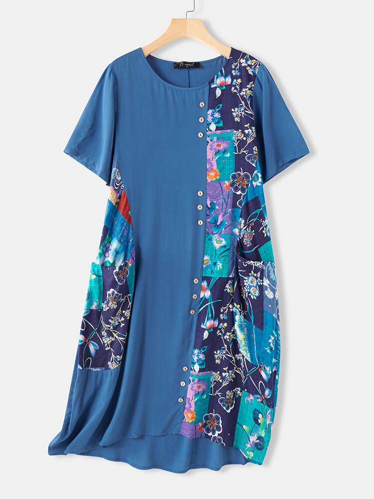 Best Floal Print Patchwork Button A-line Plus Size Dress You Can Buy