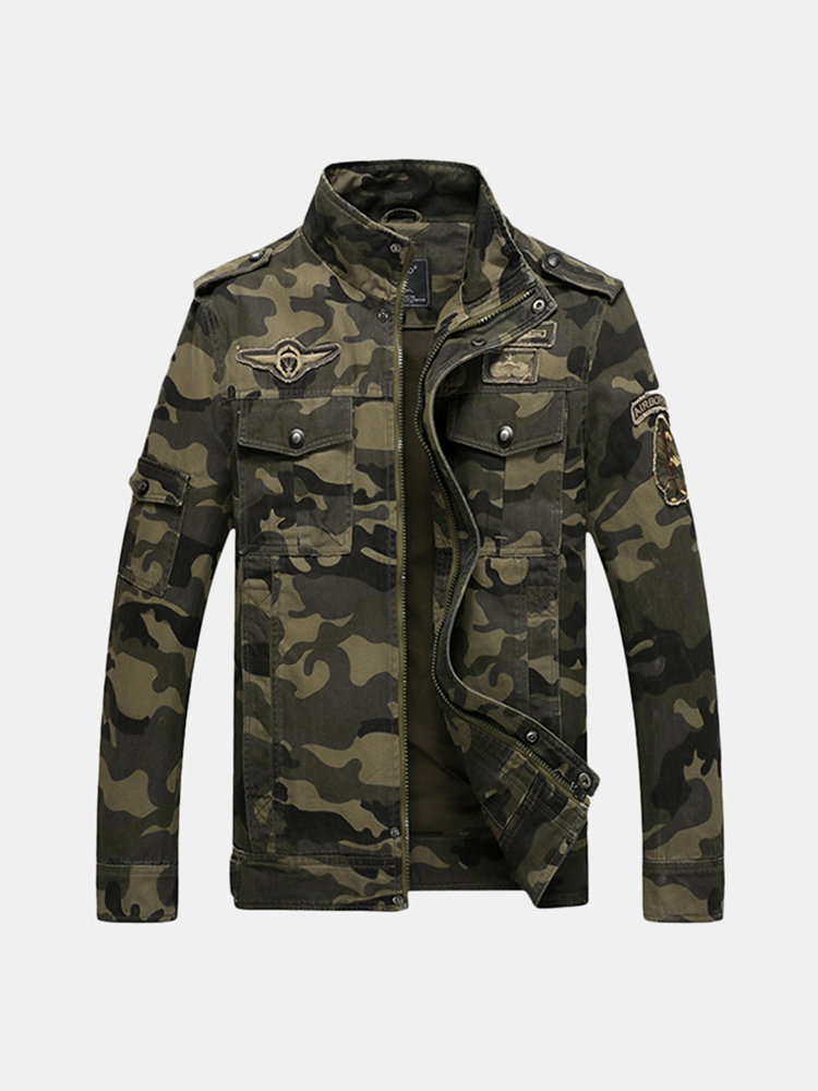 Best Military Outdoor Epaulets Camo Printing Loose Cotton Jackets for Men You Can Buy