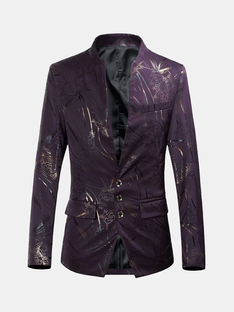 Best Men's Printed Casual Dress Suit Show Palace Wedding Slim Stand Collar Blazer You Can Buy