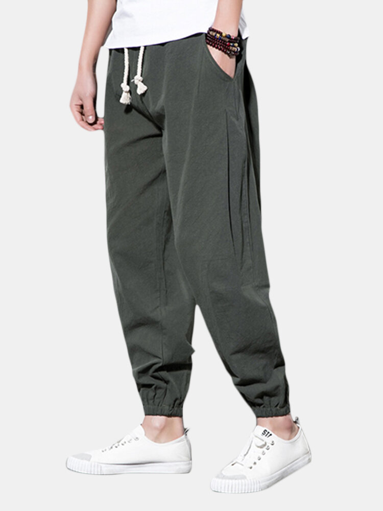 Best Mens Solid Color Cotton Linen Casual Baggy Loose Drawstring Harem Pants You Can Buy
