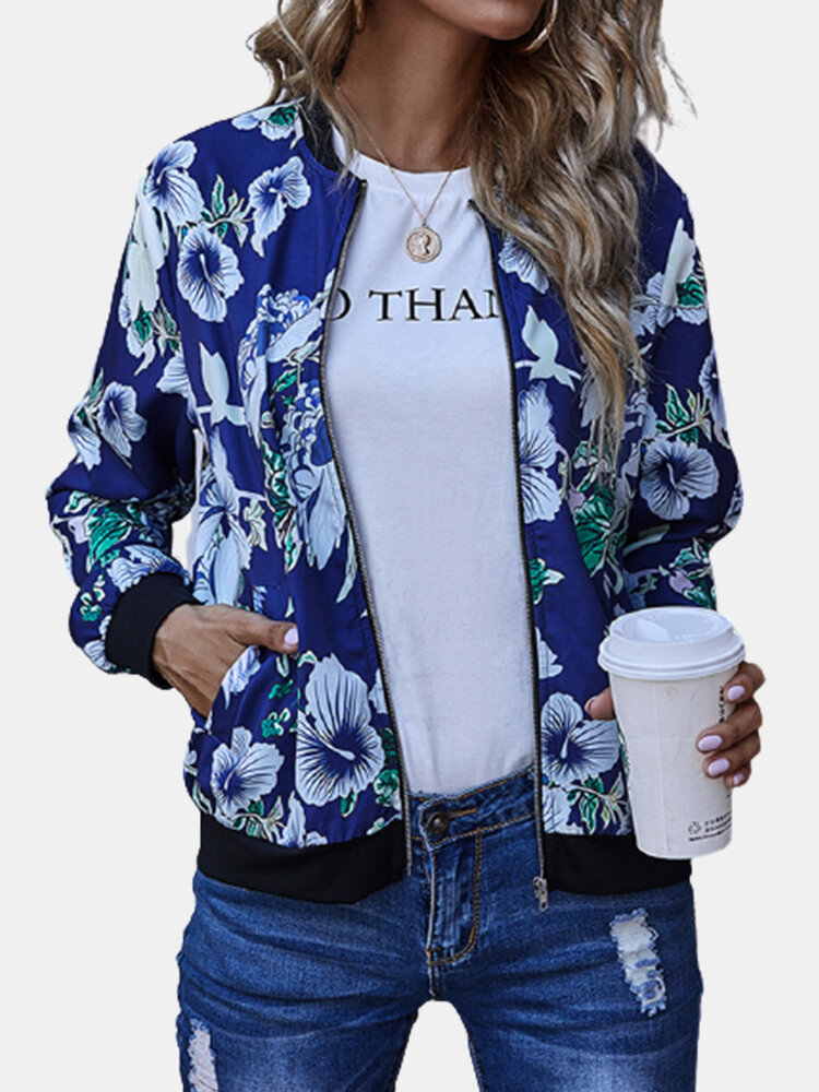 Best Floral Patched Print Pockets Zipper Casual Long Sleeve Baseball Jacket You Can Buy