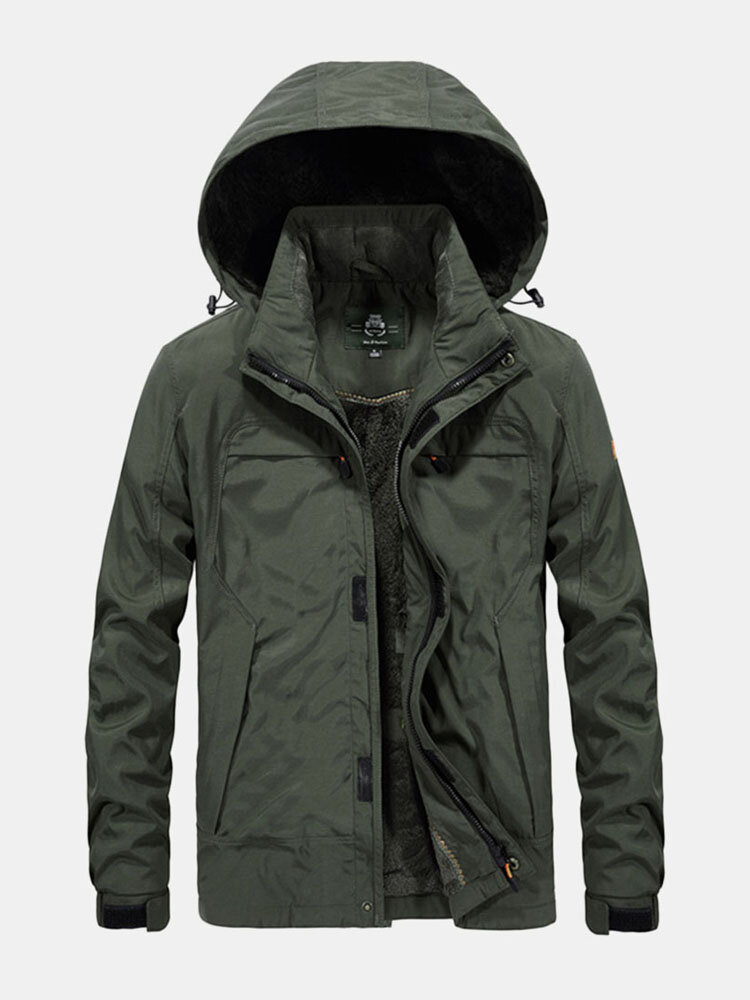 Best Mens Plus Size Windproof Breathable Thicken Fleece Multi Pockets Hooded Warm Jacket You Can Buy