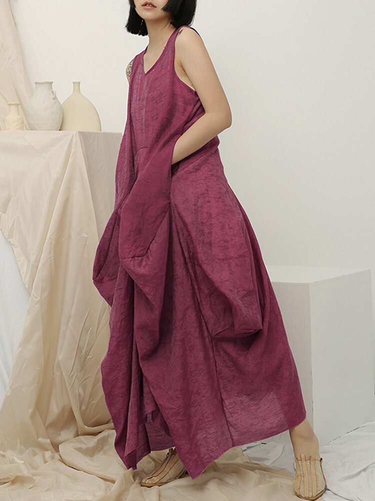Best Irregular Sleeveless Solid Color Vintage Dress For Women You Can Buy