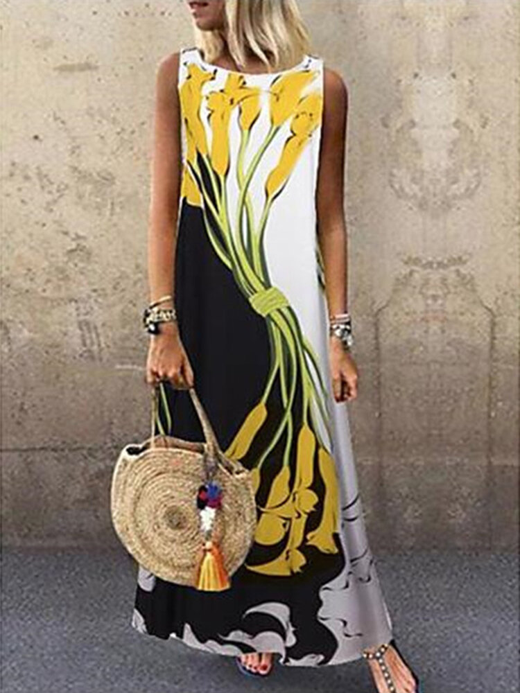 Best Vintage Printed O-neck Sleeveless Maxi Dress You Can Buy