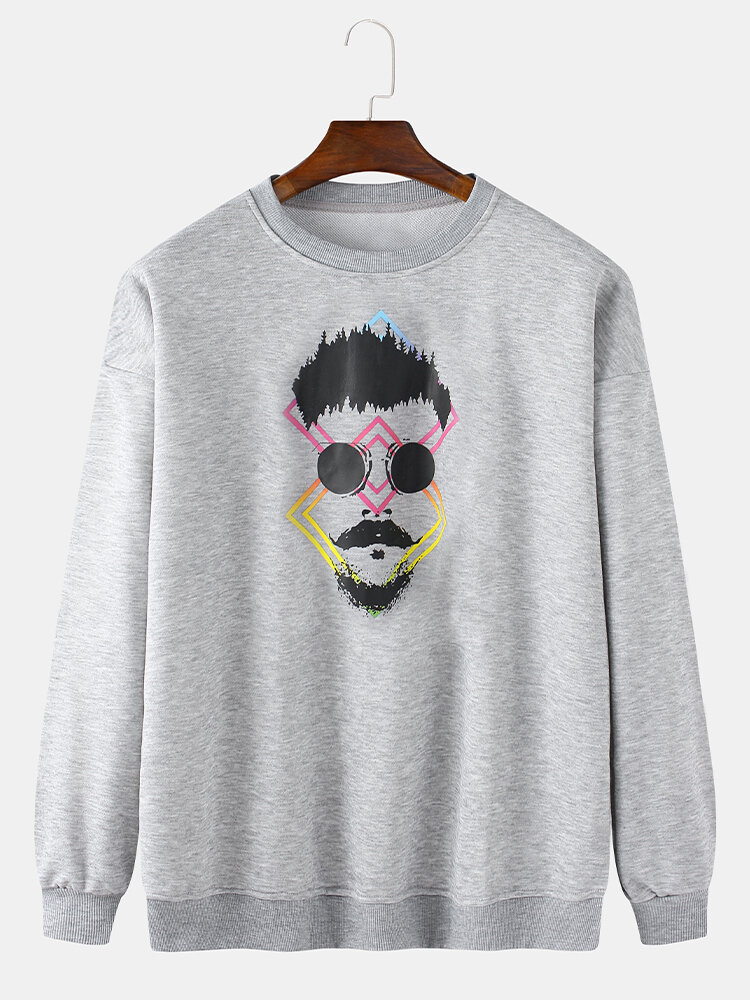 Best Mens Funny Figure Chest Print Solid Daily Fit Crew Neck Pullover Sweatshirts You Can Buy