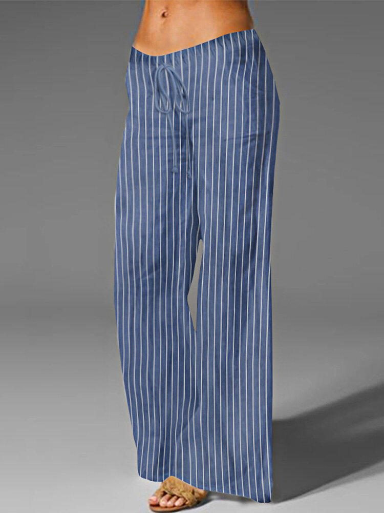 Best Striped Elastic Waist Wide Leg Plus Size Casual Pants You Can Buy