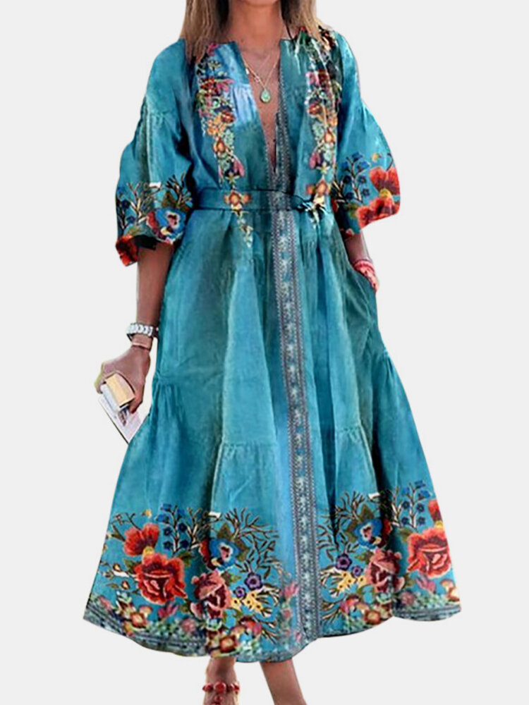 Best Vintage Flowers Print Half Sleeve Plus Size Dress with Belt You Can Buy