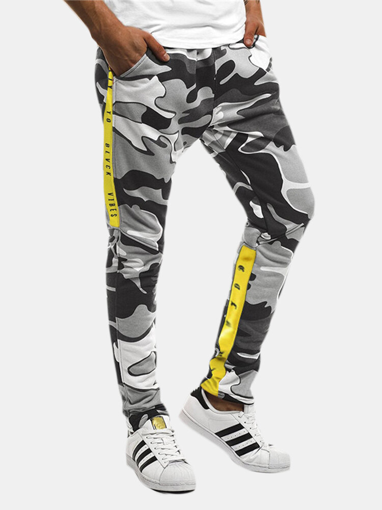 Best Men's Casual Camo Thick Elastic Waist Patchwork Trousers Sweatpants You Can Buy