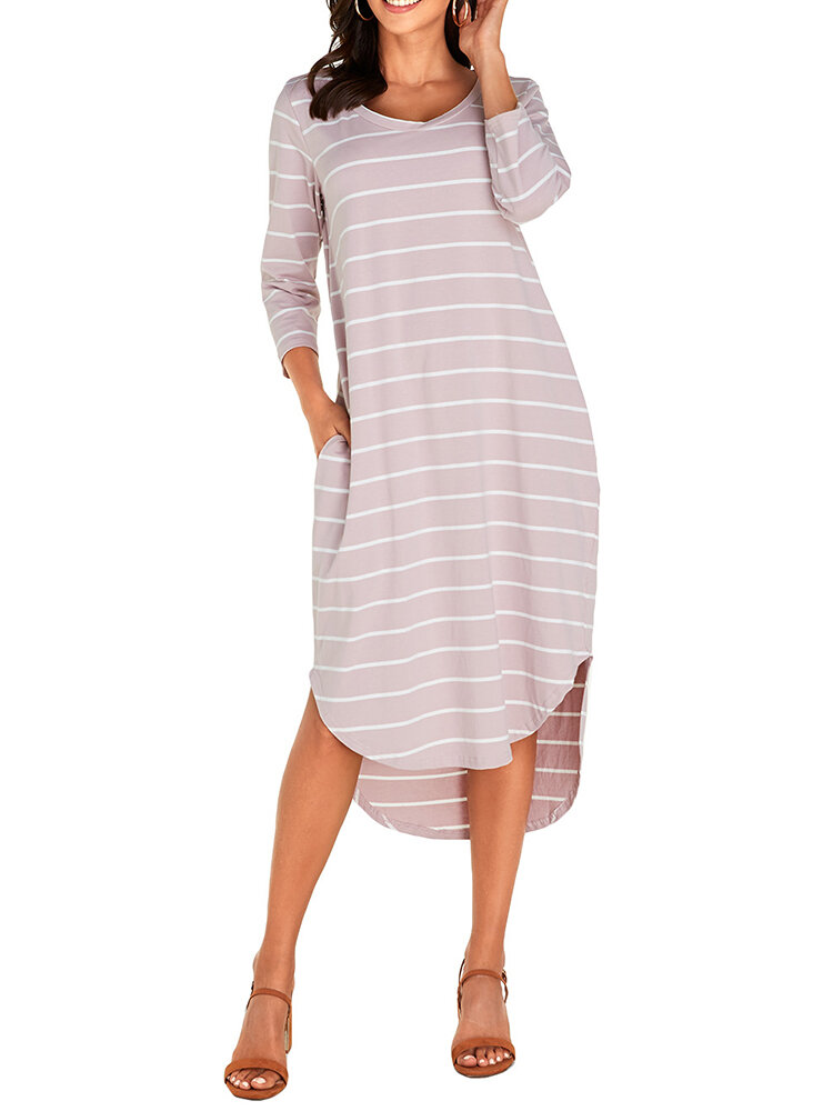 Best Asymmetrical Striped V-neck Plus Size Dress You Can Buy