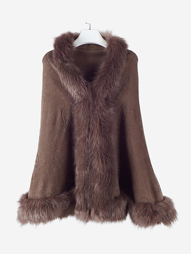 Best Women Faux Fur Collar Knitted Shawl Cloak Coats You Can Buy