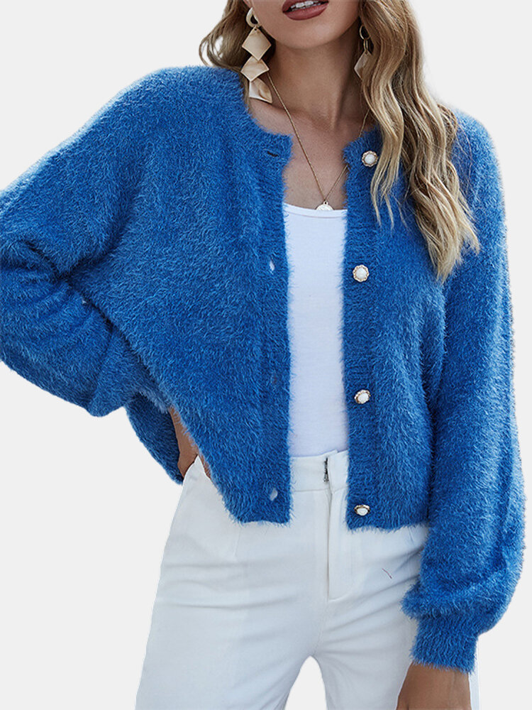 Best Casual Solid Color Button Plush Cardigan Short Jacket For Women You Can Buy