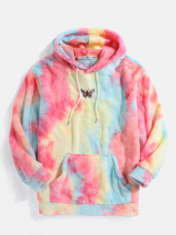 Best Mens Butterfly Embroidered Tie-Dye Fleece FluffyPouch Pocket Hoodie You Can Buy