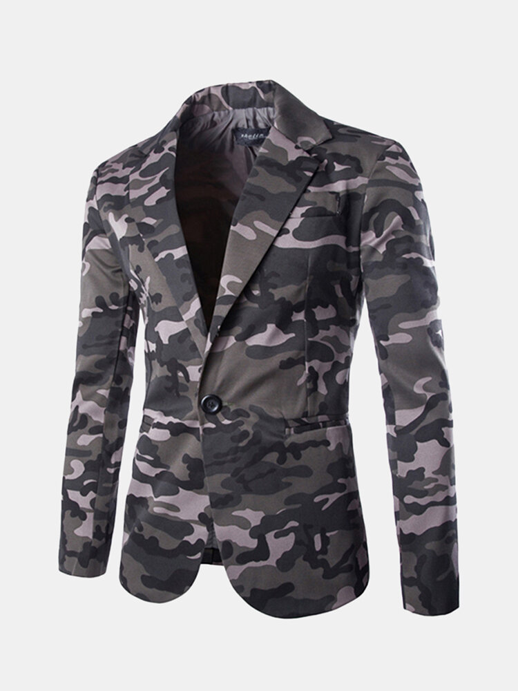 Best Brief Casual Camouflage Single Breasted Slim Long Sleeve Suit For Men You Can Buy