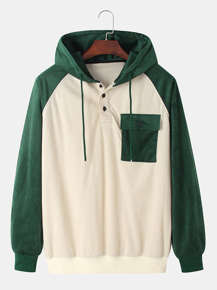 Best Mens Raglan Sleeve Patchwork Button Drawstring Hoodies With Pocket You Can Buy