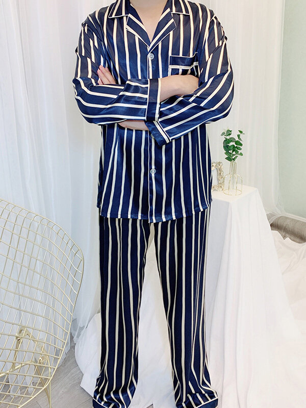 Best Navy & Red Striped Lapel Faux Silk Smooth Pajamas Two Piece Chest Pockets Sleepwear For Men You Can Buy