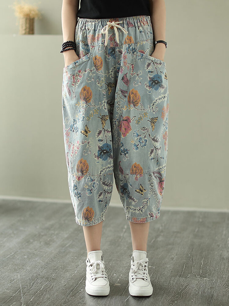 Best Floral Print Pockets Drawstring Waist Jeans For Women You Can Buy