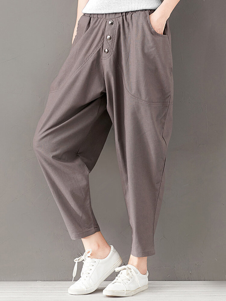 Best Solid Elastic Waist High Waist Pant With Pocket You Can Buy
