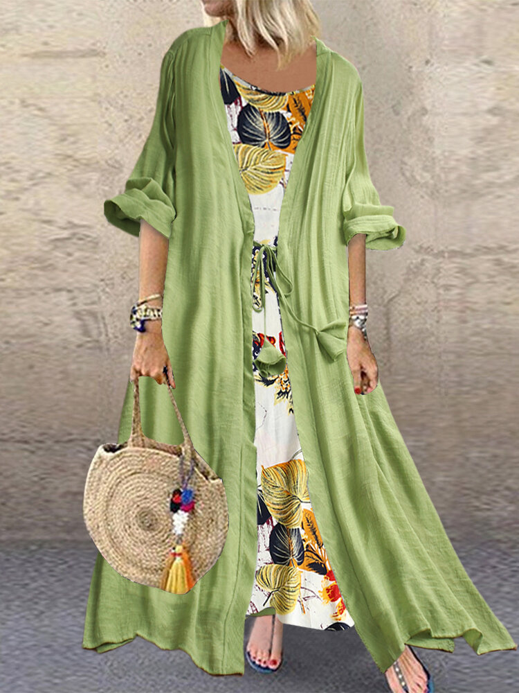 Best Bohemian Floral Print Knot Two Pieces Plus Size Dress You Can Buy