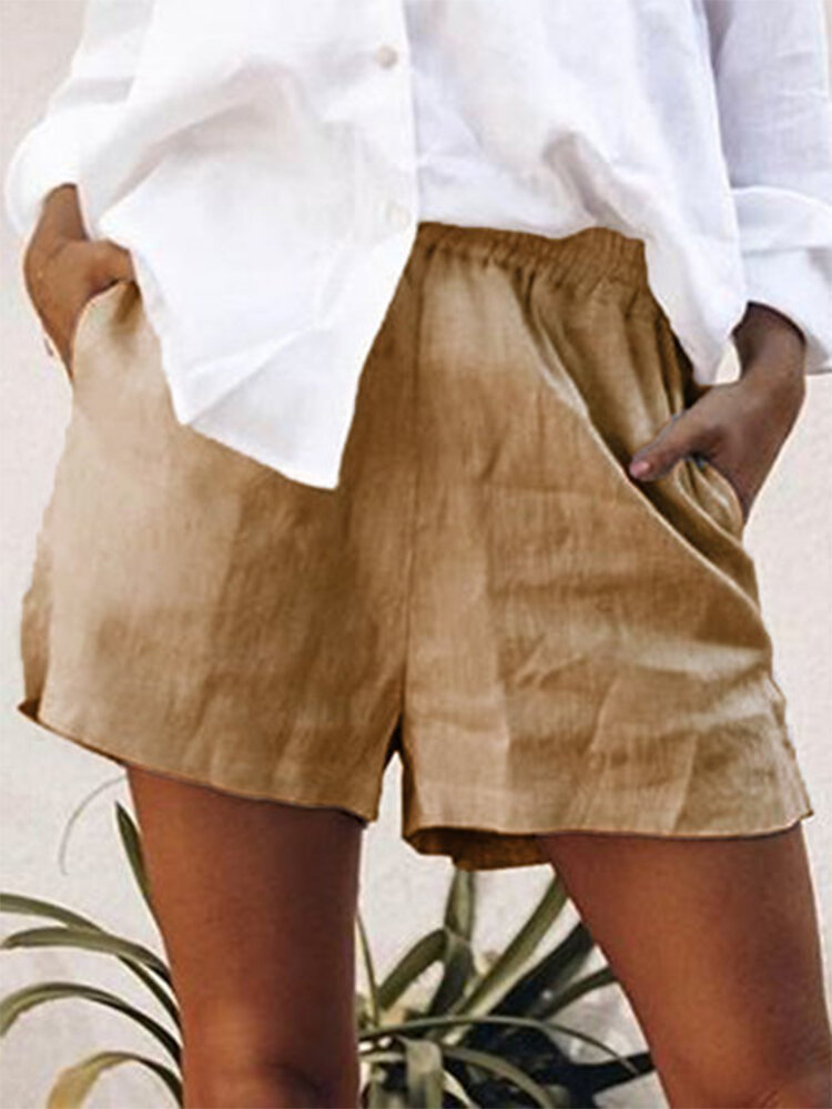 Best Solid Color Elastic Waist Shorts For Women You Can Buy