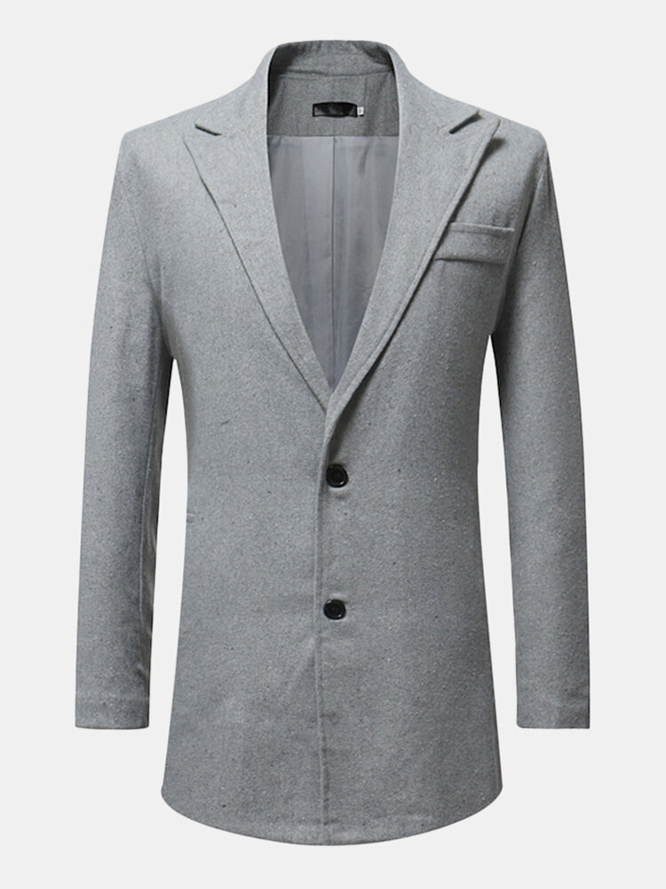 Best Mens Single Breasted Mid Long Slim Fit Casual Bussiness Solid Color Coat Jacket Suit You Can Buy