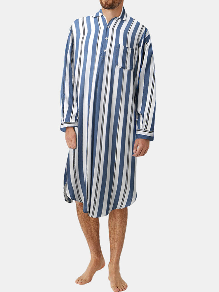 Best Mens Striped Knee-Length Pocket Tops Homewear Casual Long Shirts Robes You Can Buy
