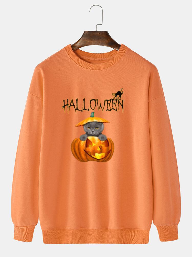 Best Mens 100% Cotton Halloween Funny Pumpkin Animal Print Drop Shoulder Sweatshirts You Can Buy