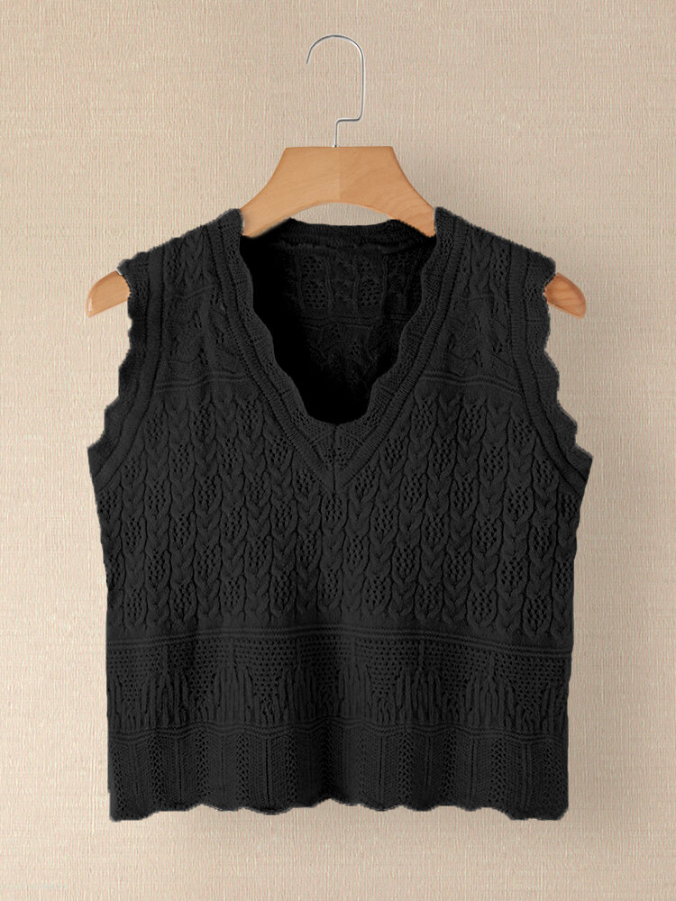 Best Solid Color V-neck Sleeveless Knit Sweater For Women You Can Buy