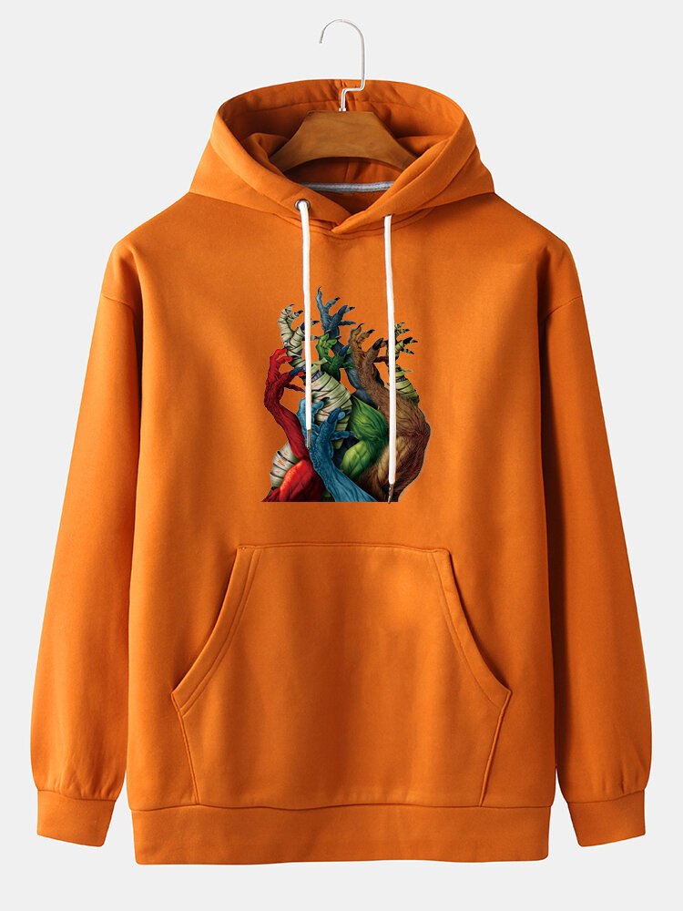 Best Mens Halloween Monstar Hand Print Kangaroo Pocket Pullover Hoodies You Can Buy