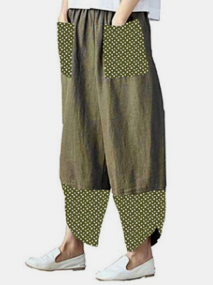 Best Casual Polka Dot Floral Print Patchwork Plus Size Pants You Can Buy